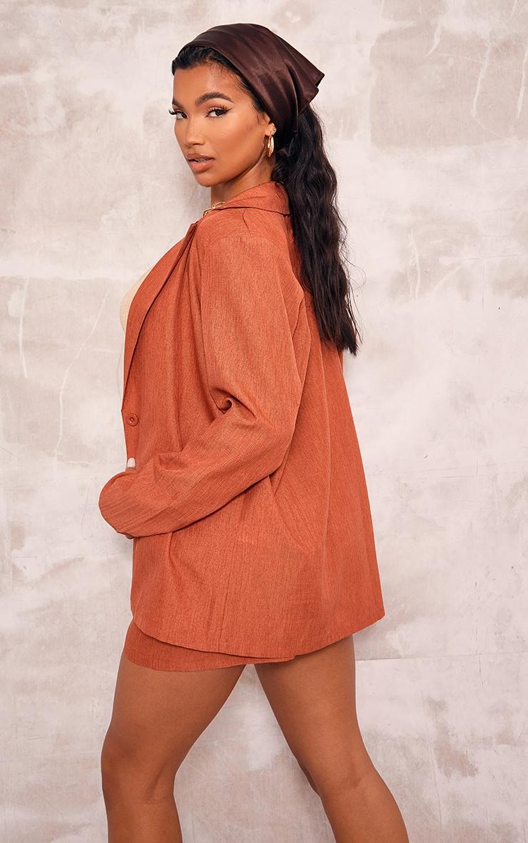 Rust Textured Woven Longline Blazer 2