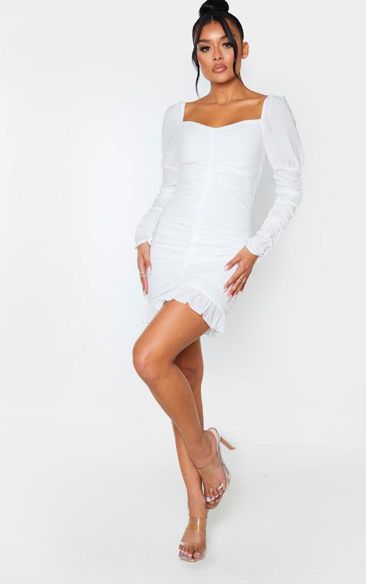 White Ruched Frill Hem Bodycon Dress 4