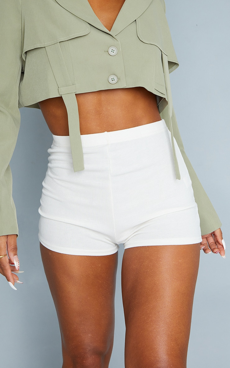 Cream Soft Rib Hot Pants 5