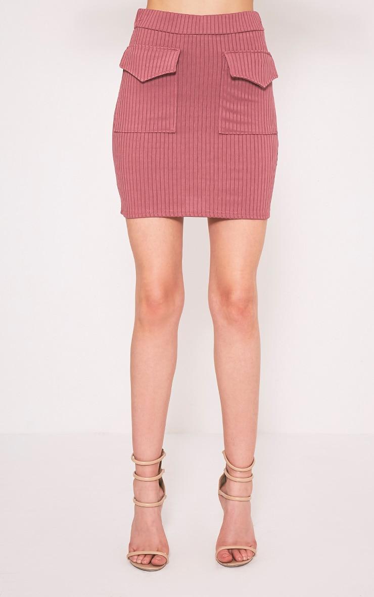 Esta Rose Pocket Ribbed Mini Skirt 2