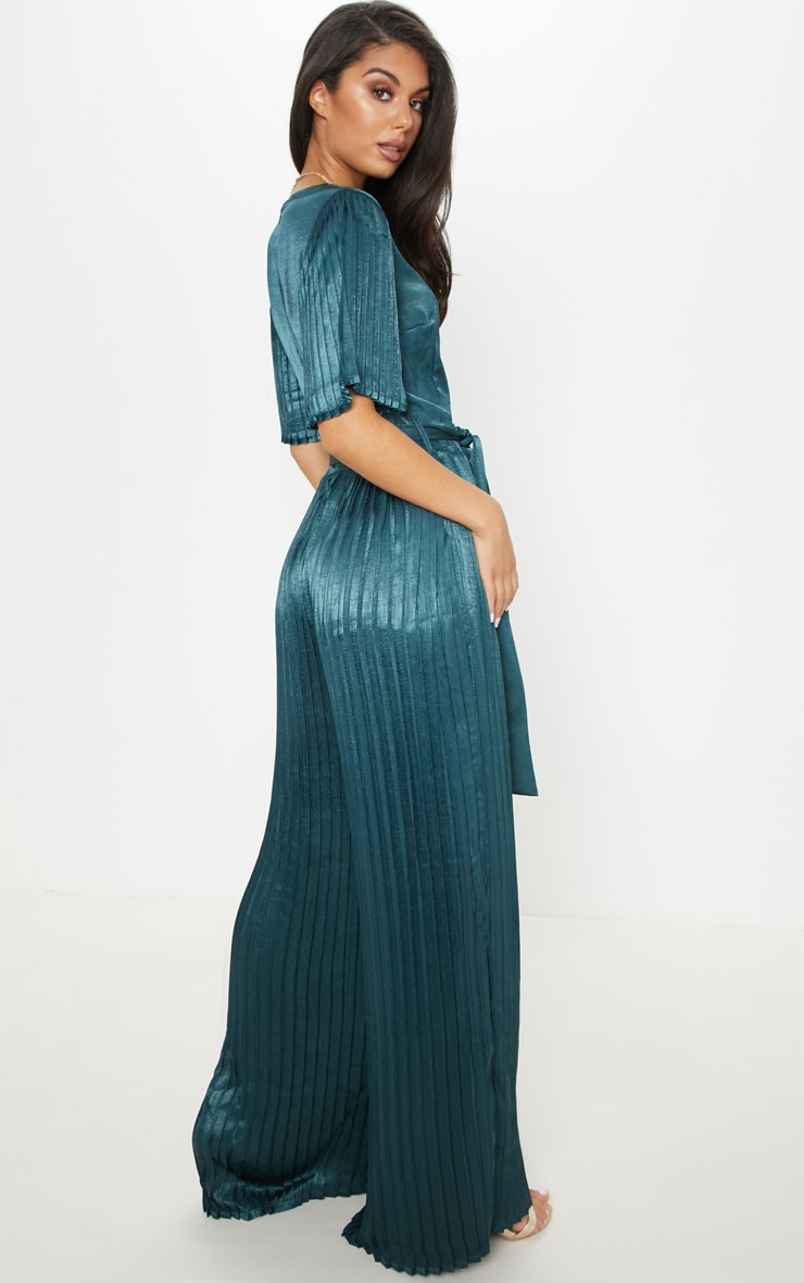Emerald Green Satin Pleated Wide Leg Jumpsuit 2