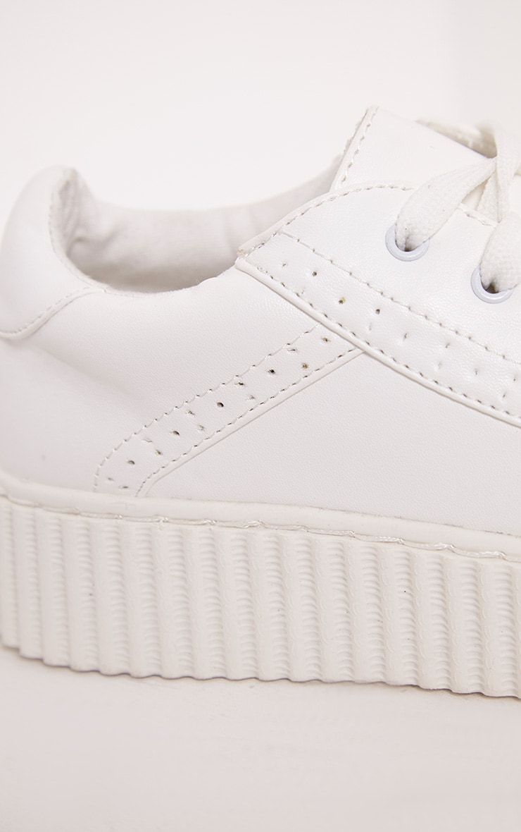 Lorena White PU Creeper Trainers 5