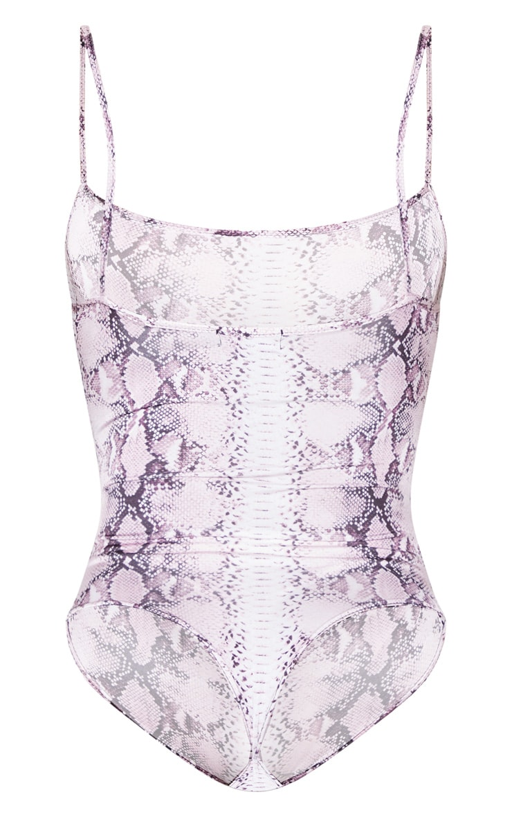 Pink Snake Straight Neck Print Bodysuit 4