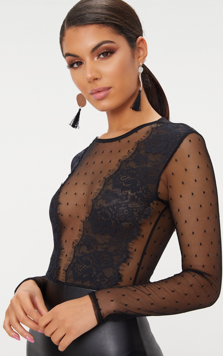 Black Lace Top Long Sleeve PU Bodycon Dress  5