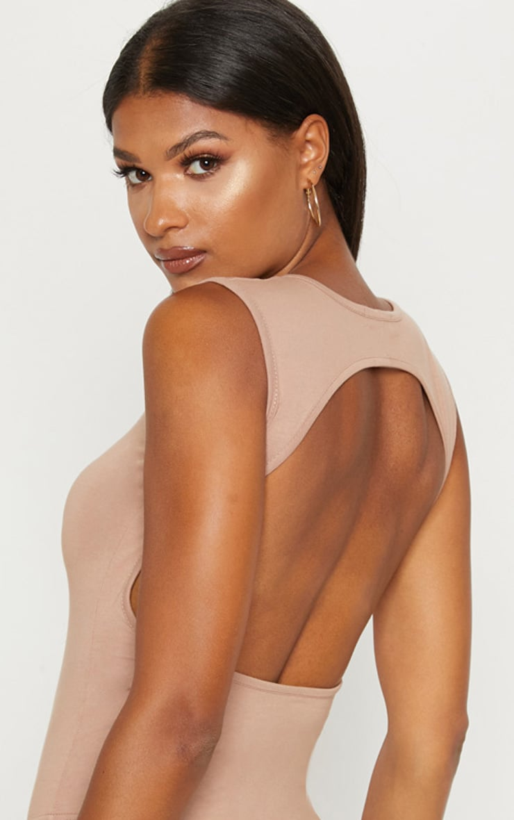 Taupe Cut Out Back Sleeveless Bodysuit 6