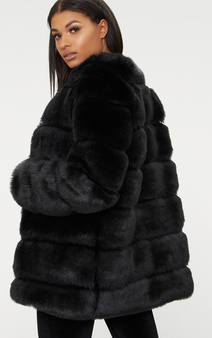 Black Faux Fur Bubble Coat 2