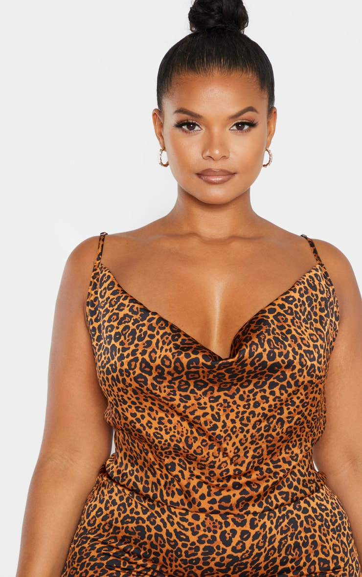 Plus Leopard Print Strappy Satin Cowl Midi Dress  5