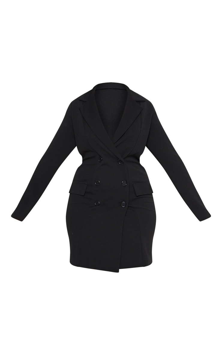 Plus Black Button Detail Blazer Dress 3