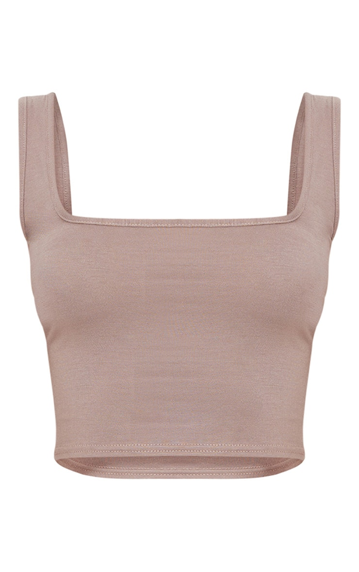 Basic Taupe Jersey Square Neck Crop Vest 3