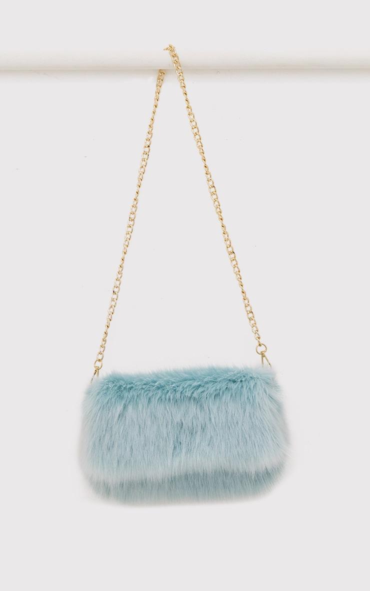 Kylah Ice Blue Faux Fur Clutch Bag 5