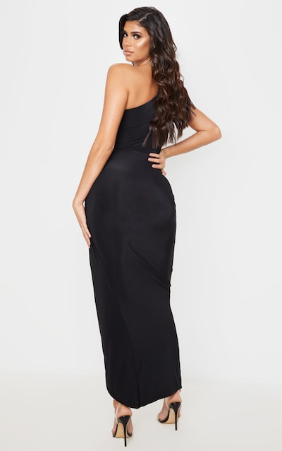 Black Slinky Drape Detail One Shoulder Maxi Dress