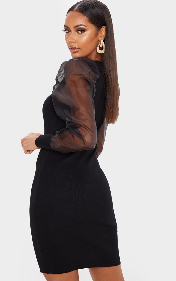 Black Organza Puff Sleeve Dress 2