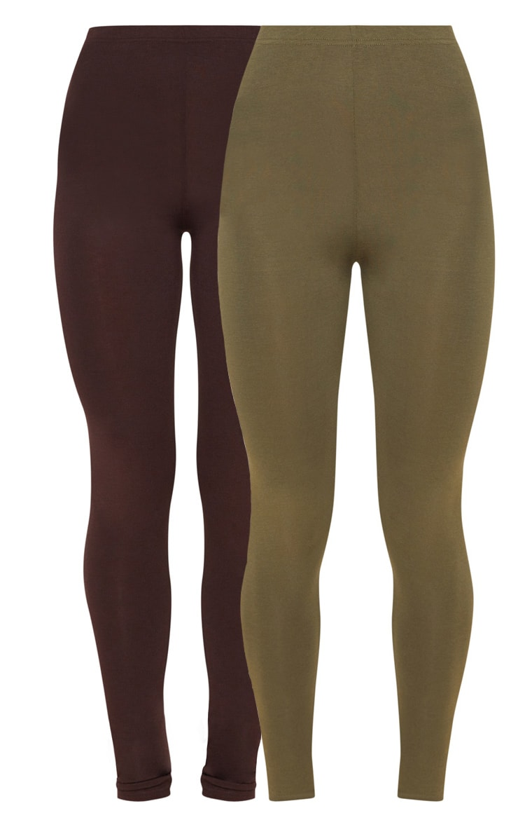 Khaki & Chocolate Basic Jersey Leggings 2 Pack 3
