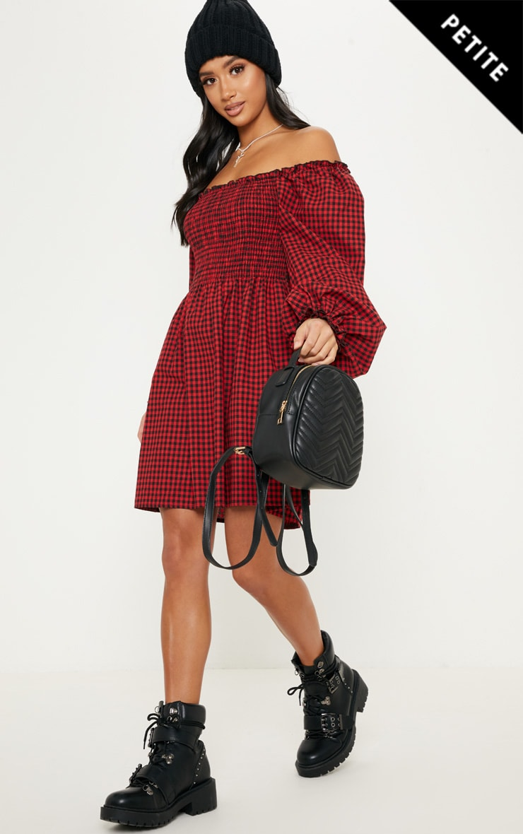Petite Red Gingham Square Neck Shirred Skater Dress