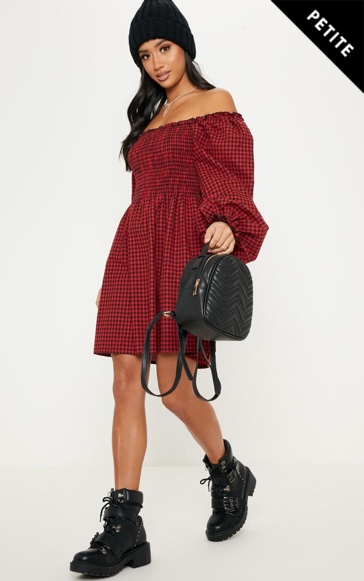 Petite Red Gingham Bardot Shirred Skater Dress 1