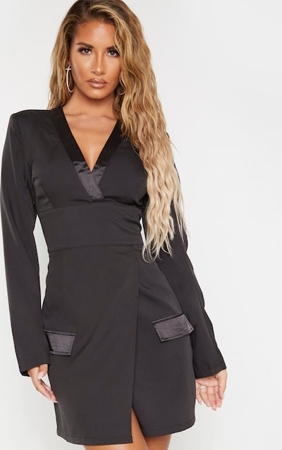 Black Shoulder Pad Satin Insert Blazer Dress
