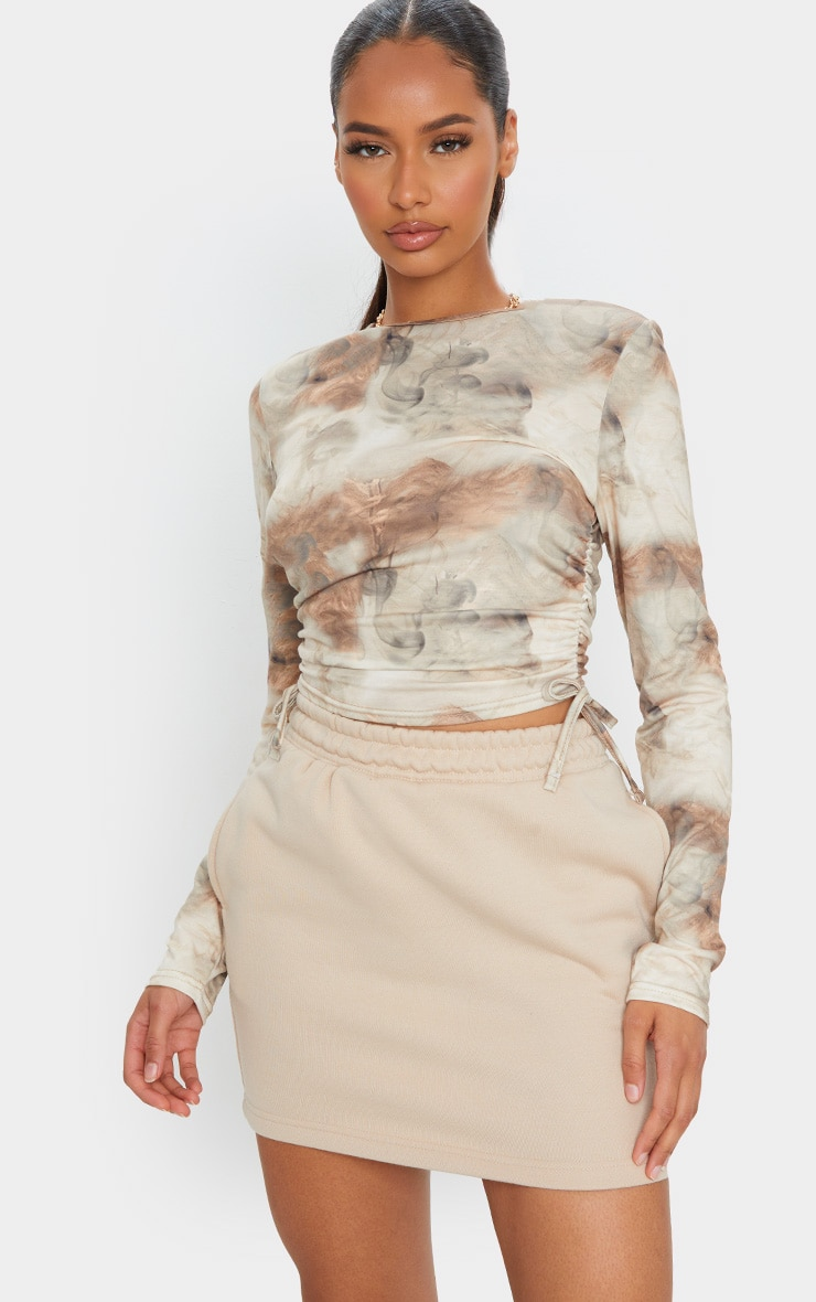 Beige Jersey Tie Ruched Side Long Sleeve Crop Top 1
