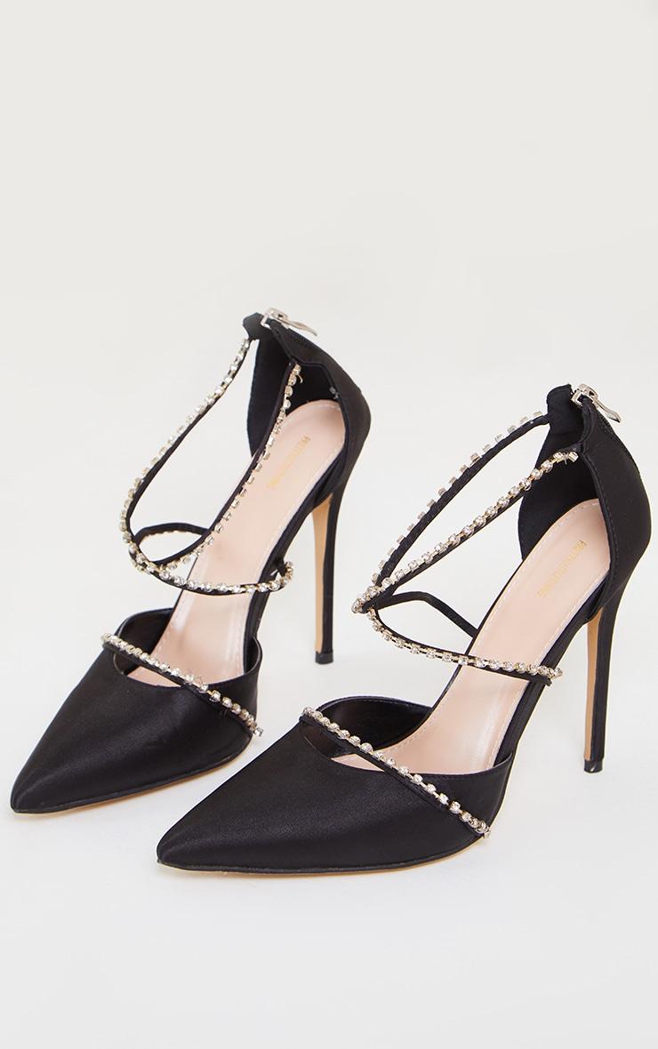 Black Satin Pointed Diamante Cross Over Court Heels 3