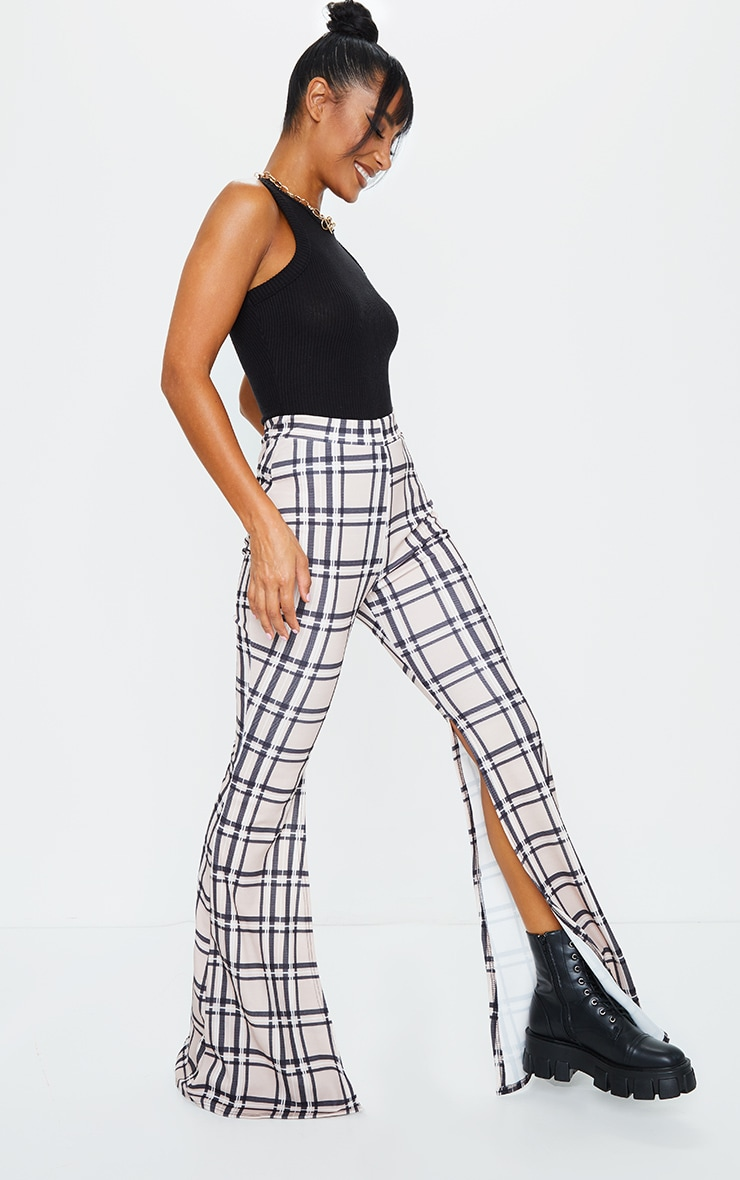 Stone Check Side Split Flared Trousers 1