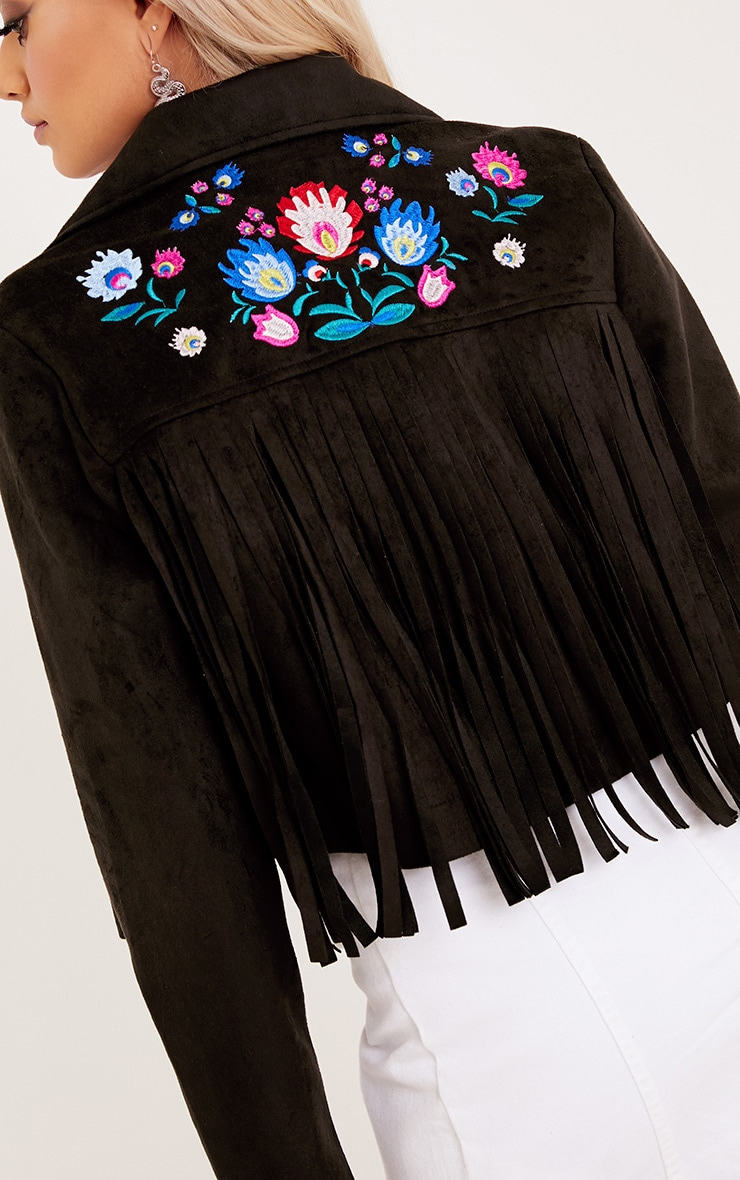 Shilla Black Faux Suede Embroidered Detail Biker 6