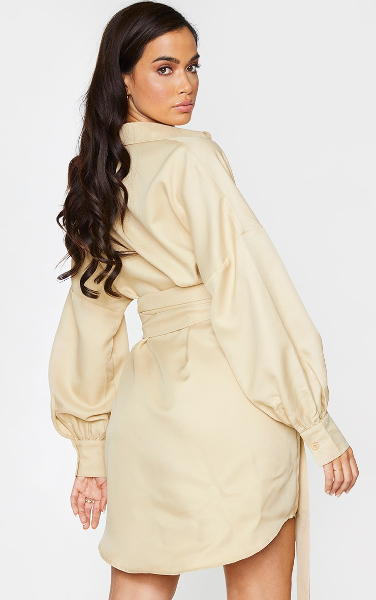 Stone Belted Tie Shirt Dress 2