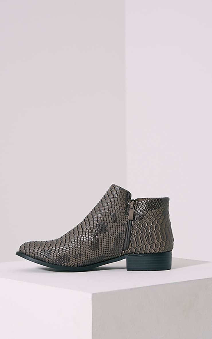 Grey Croc Effect Low Ankle Boots 4