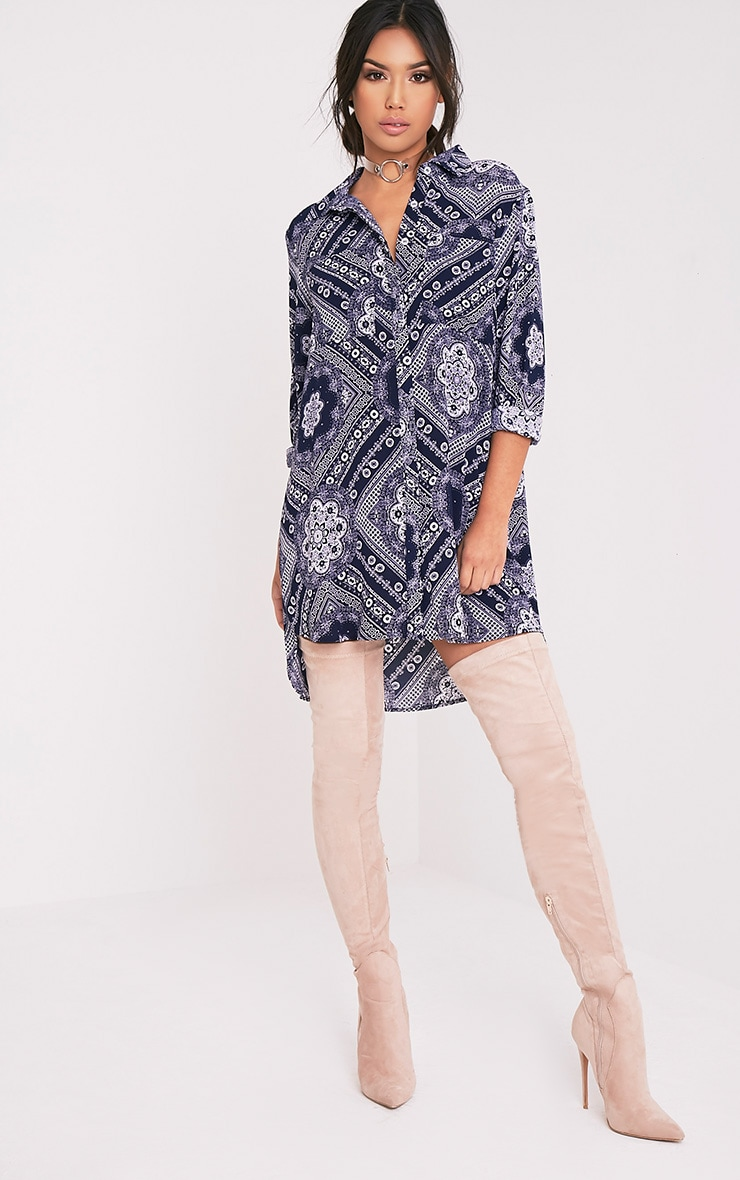 Camille Navy Paisley Print Shirt Dress 5