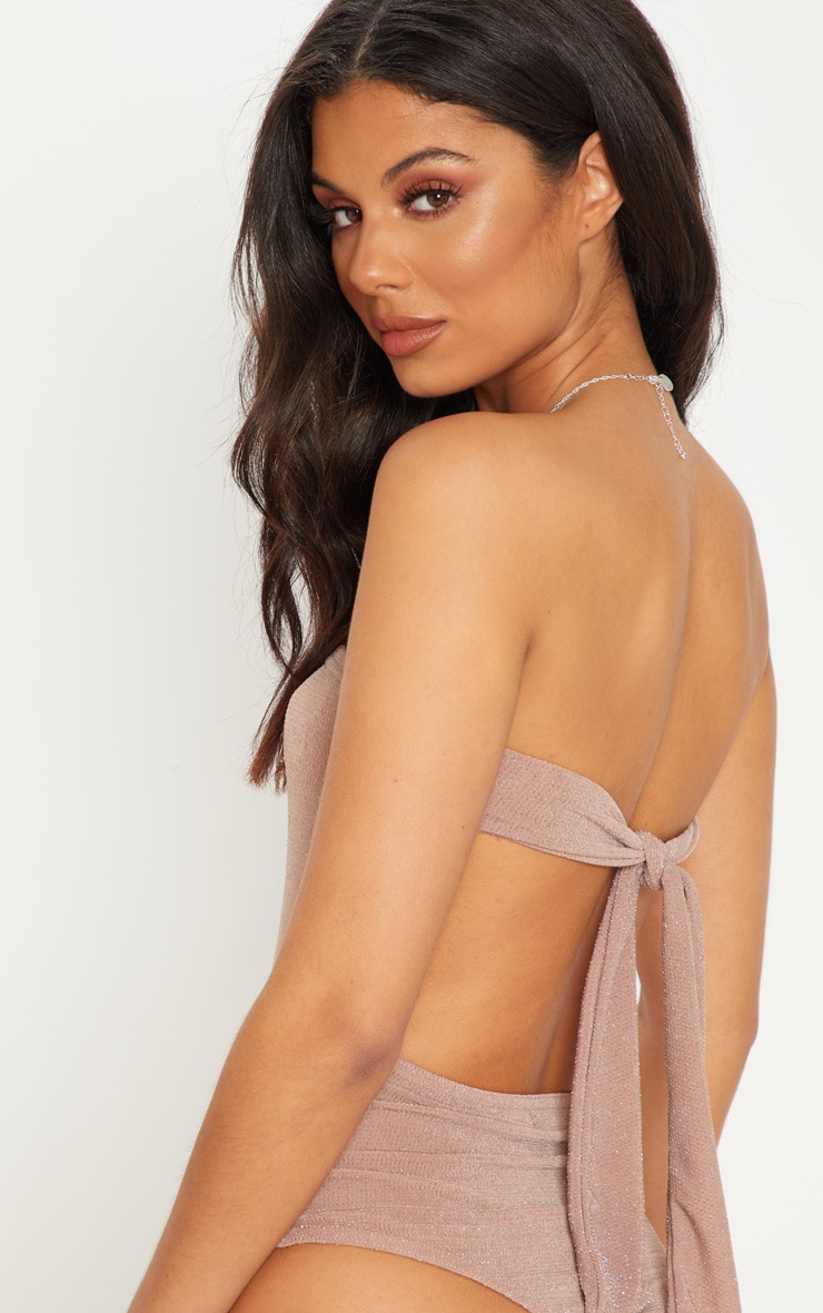 Dusty Pink Bandeau Lurex Tie Back Bodysuit 6