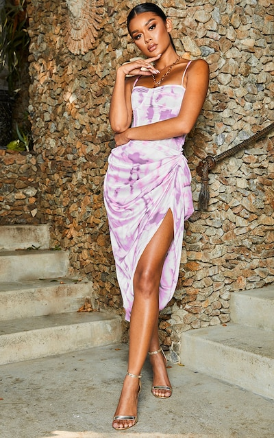 Purple Tie Dye Ruched Side Midi Skirt