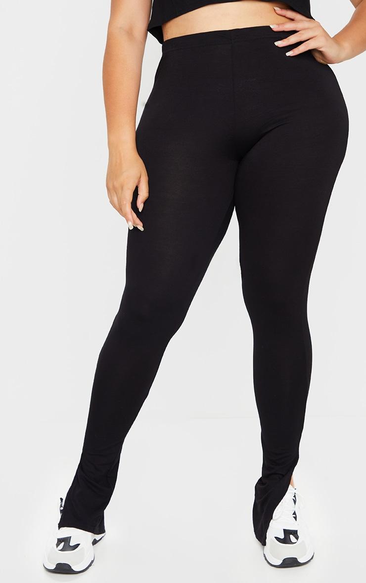 Plus Black Basic Jersey Split Hem Leggings 2