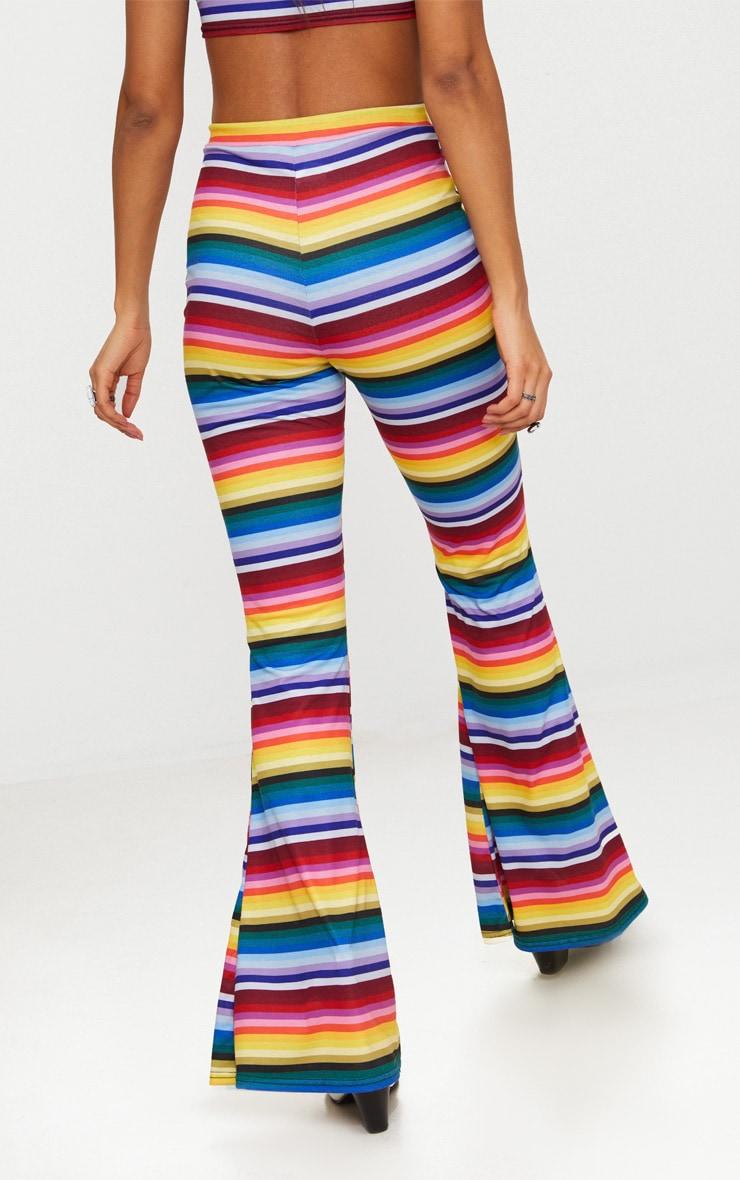 Multi Stripe Jersey Flared Trousers 3