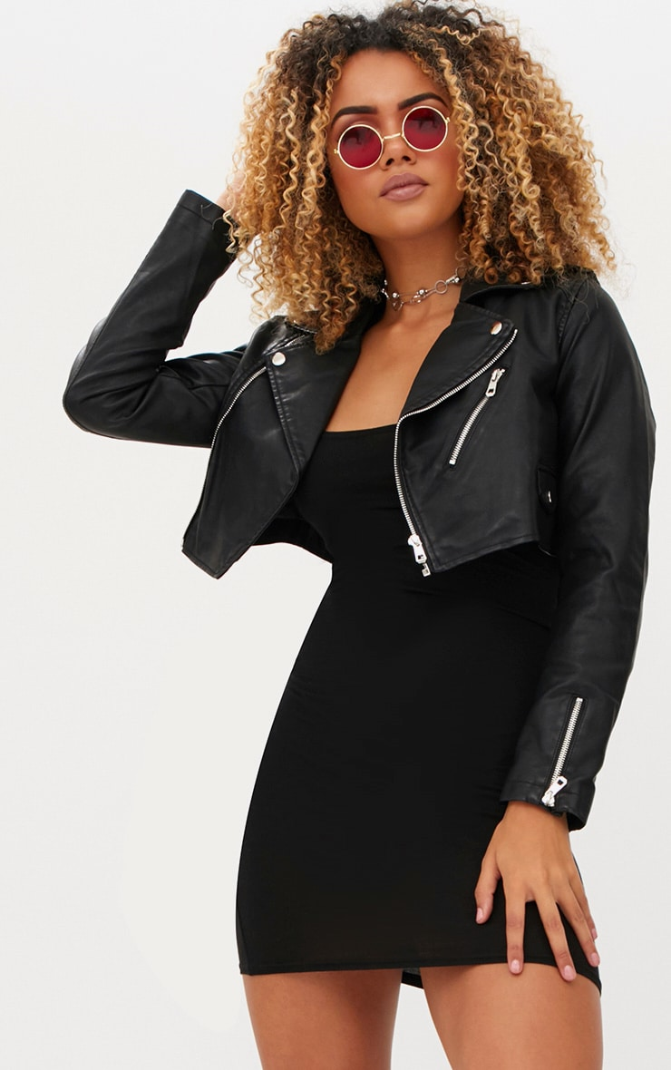 Black Cropped PU Biker Jacket With Zips 1