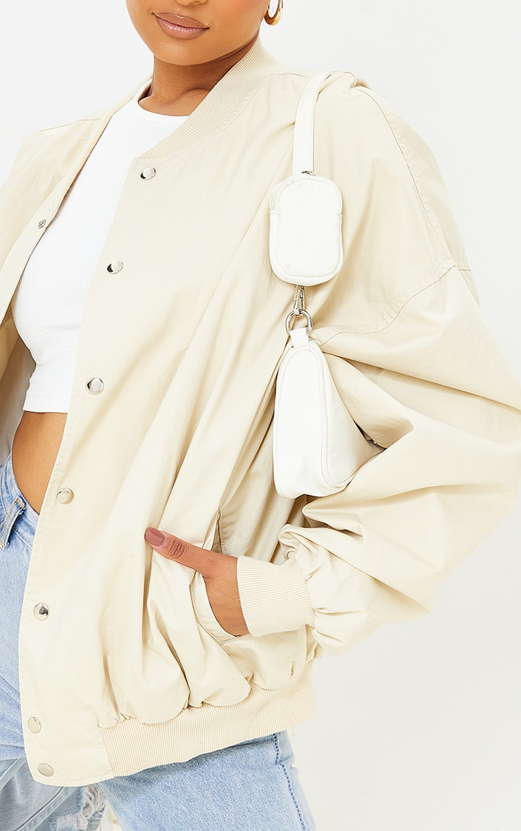 Beige Soft Touch Twill Extreme Oversized Bomber 4