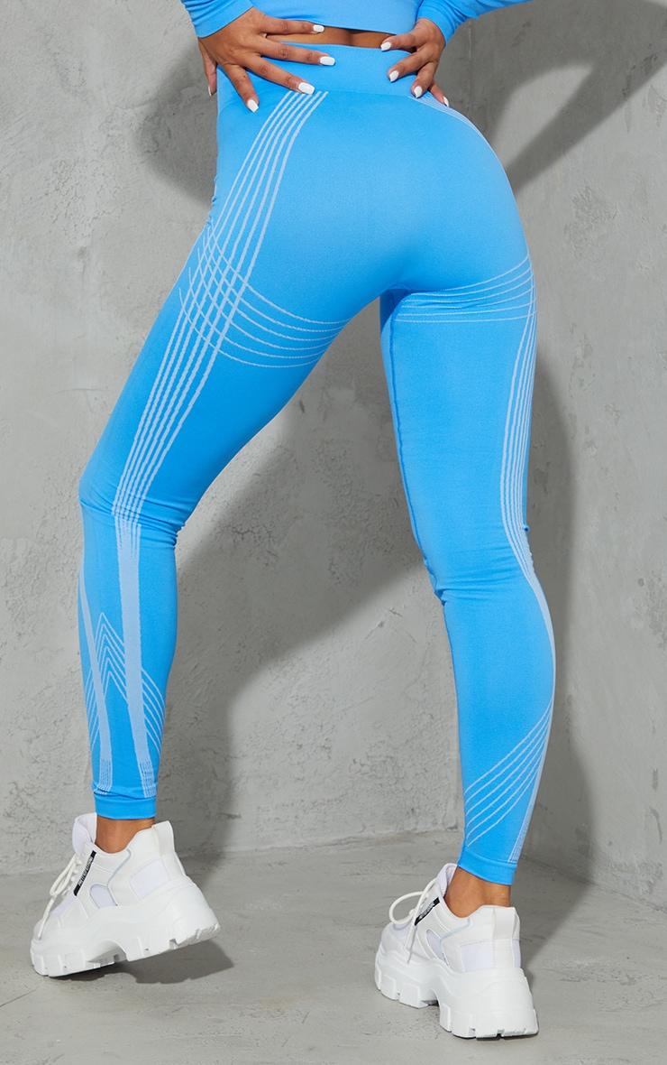 Blue Contrasting Details Seamless Gym Legging 3