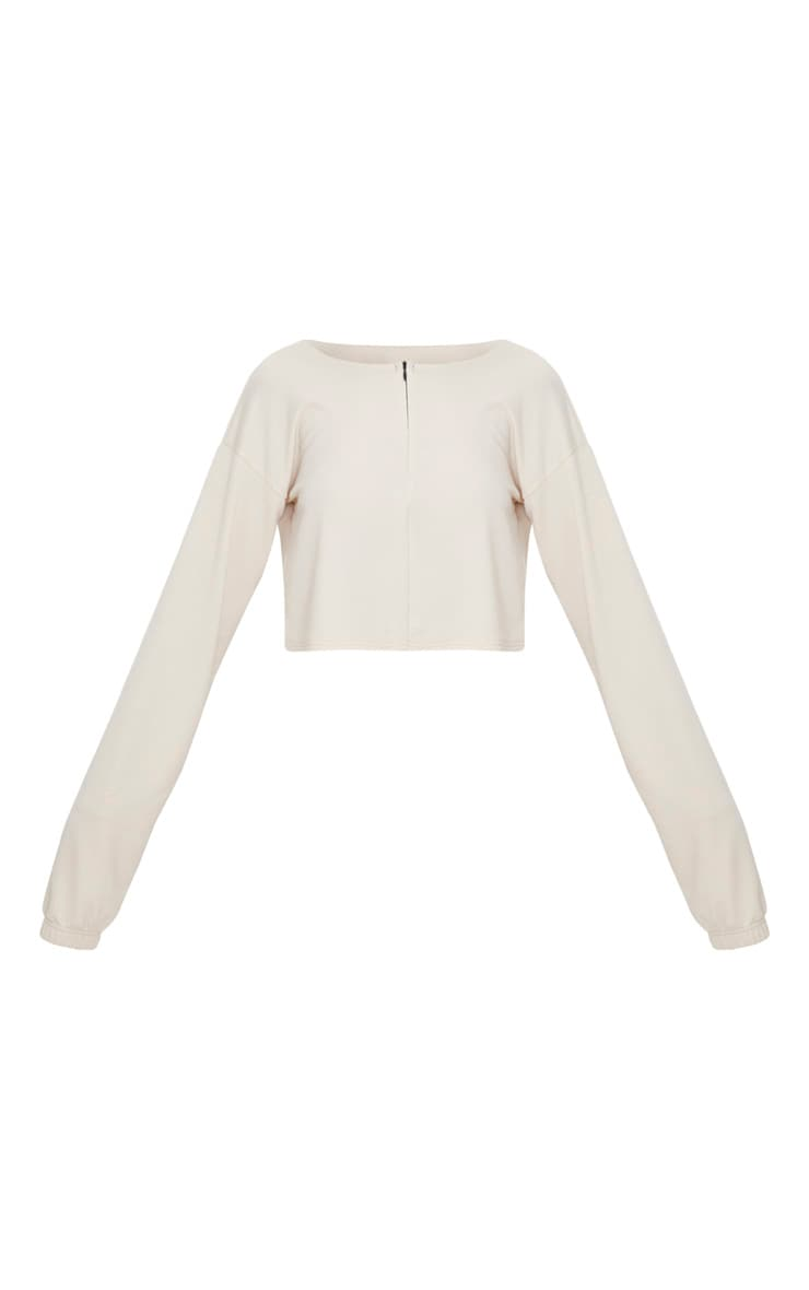 Cream Zip Front Sweater  3