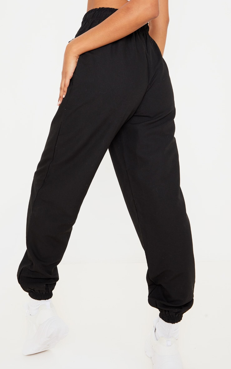 Black Peach Skin Oversized Jogger 4