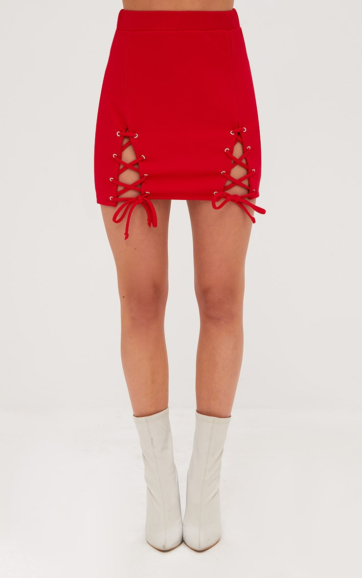 Red Double Split Lace Up Mini Skirt 2