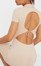Stone Rib Open Back Polo Collar Detail Midi Dress 4