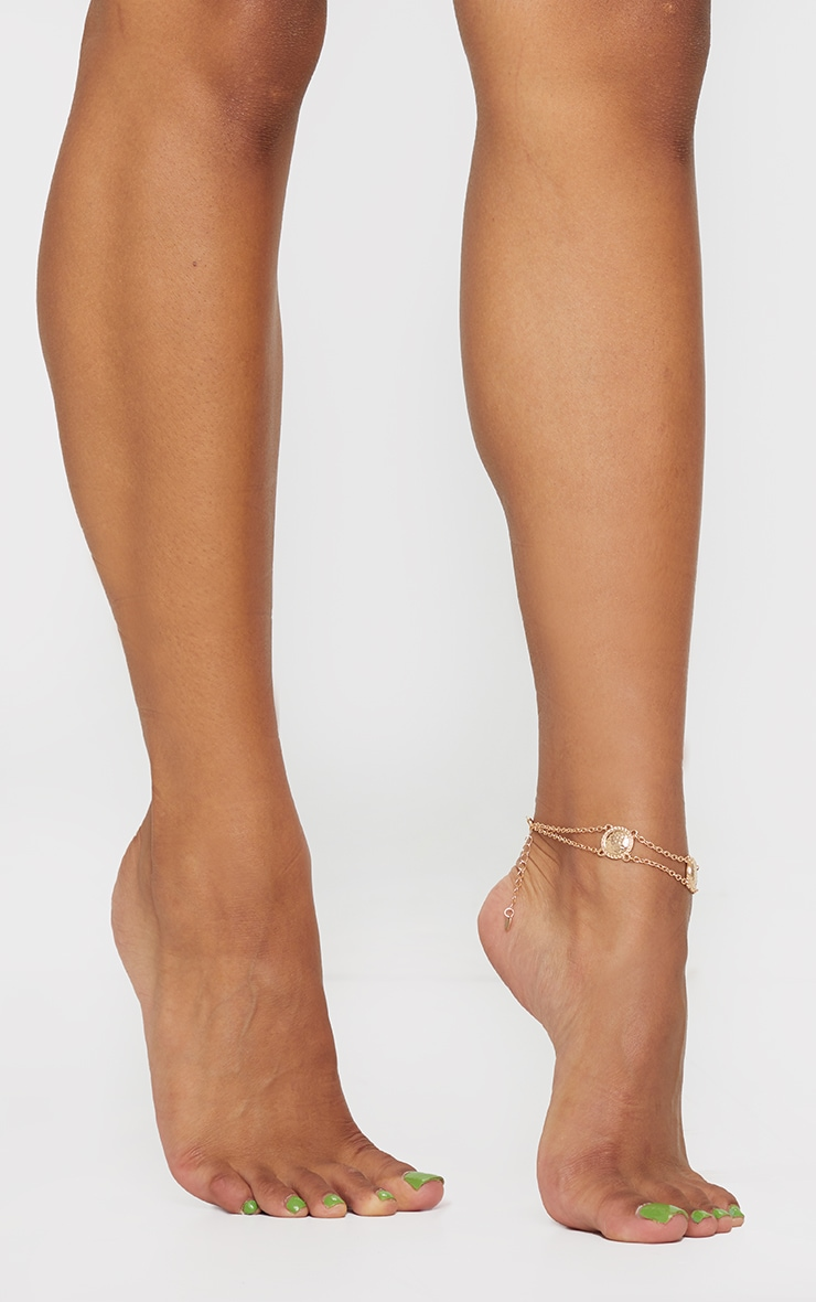 Gold Textured Circular Chain Anklet 1