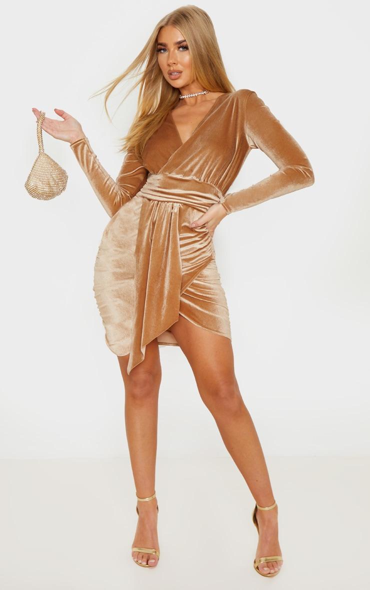 Mocha Velvet Drape Detail Ruched Bodycon Dress 1