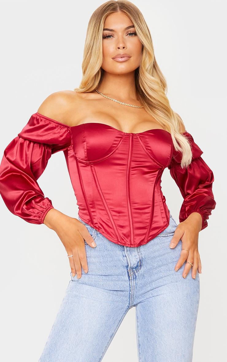 Scarlet Satin Bardot Balloon Sleeve Corset Top 1