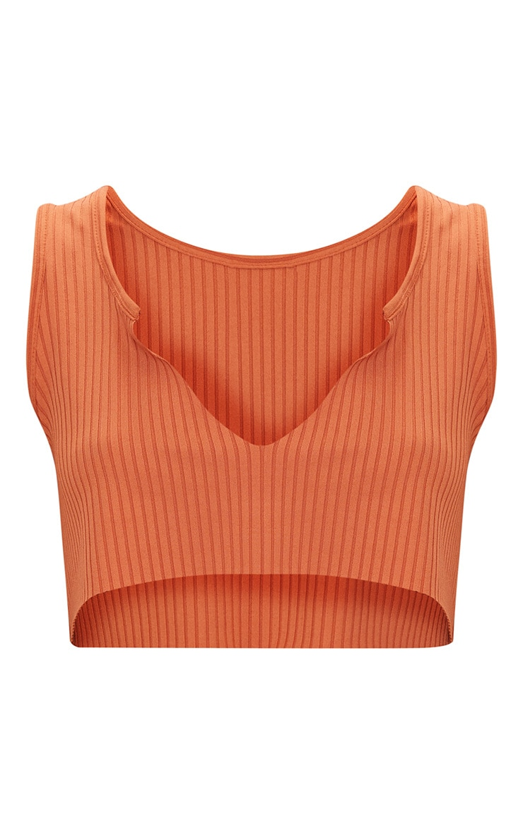 Burnt Orange Rib Deep V Raw Edge Crop Top  1
