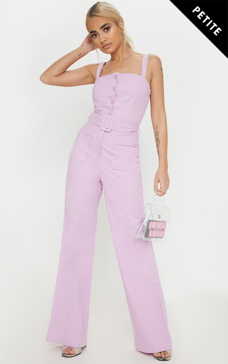 Petite Lilac Wide Leg Square Pocket Button Jumpsuit