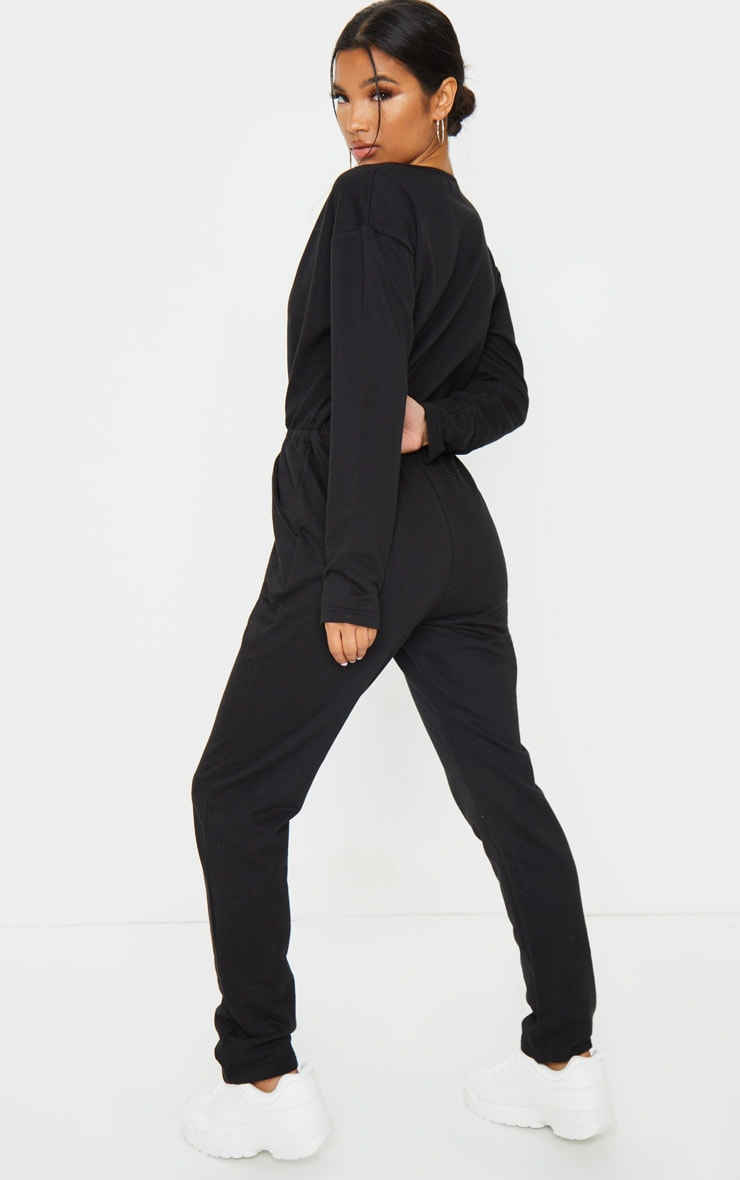 Black Wrap Over Long Sleeve Sweat Jumpsuit 2