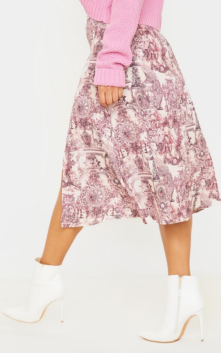 Stone Renaissance Print Floaty Midi Skirt 4