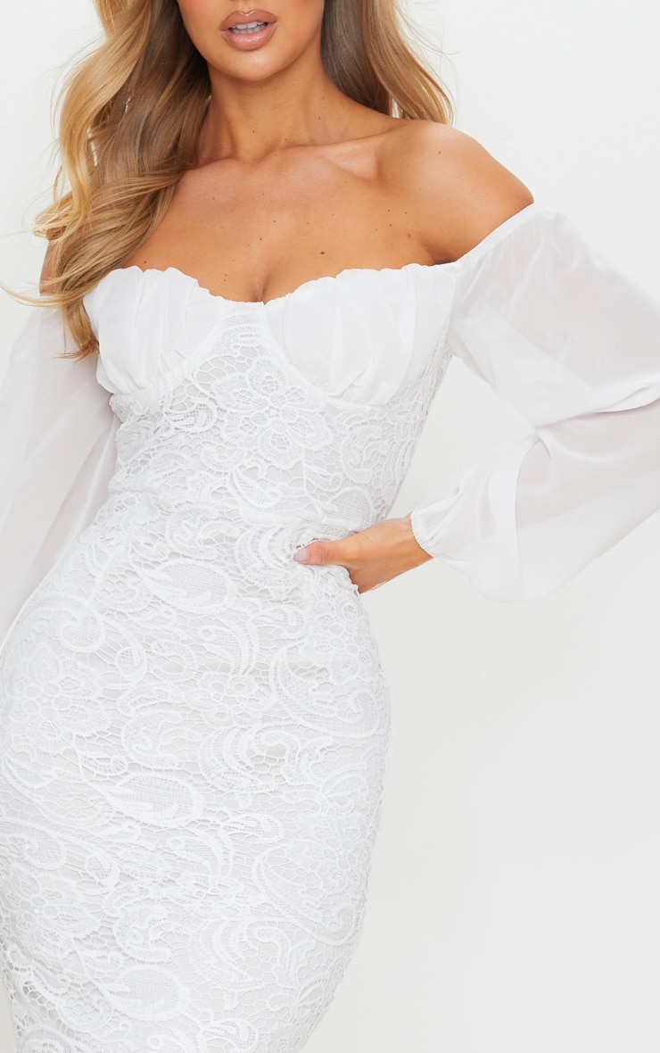 White Chiffon Cup Insert Lace Midi Dress 4