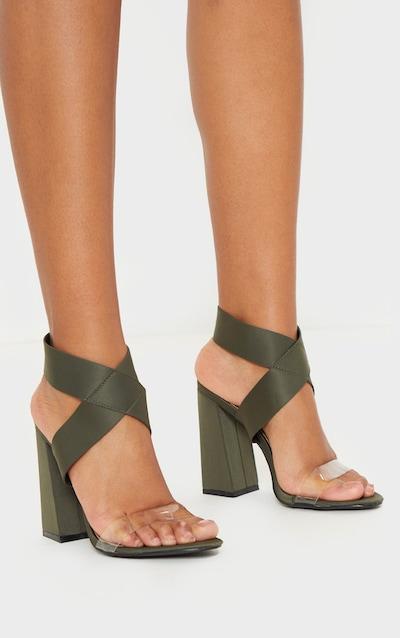 Khaki Elastic Block Heel Sandal