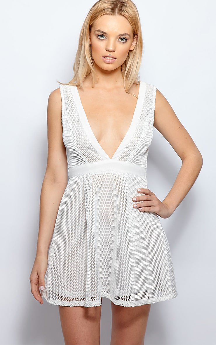 Imogen White Fishnet Skater Dress 1