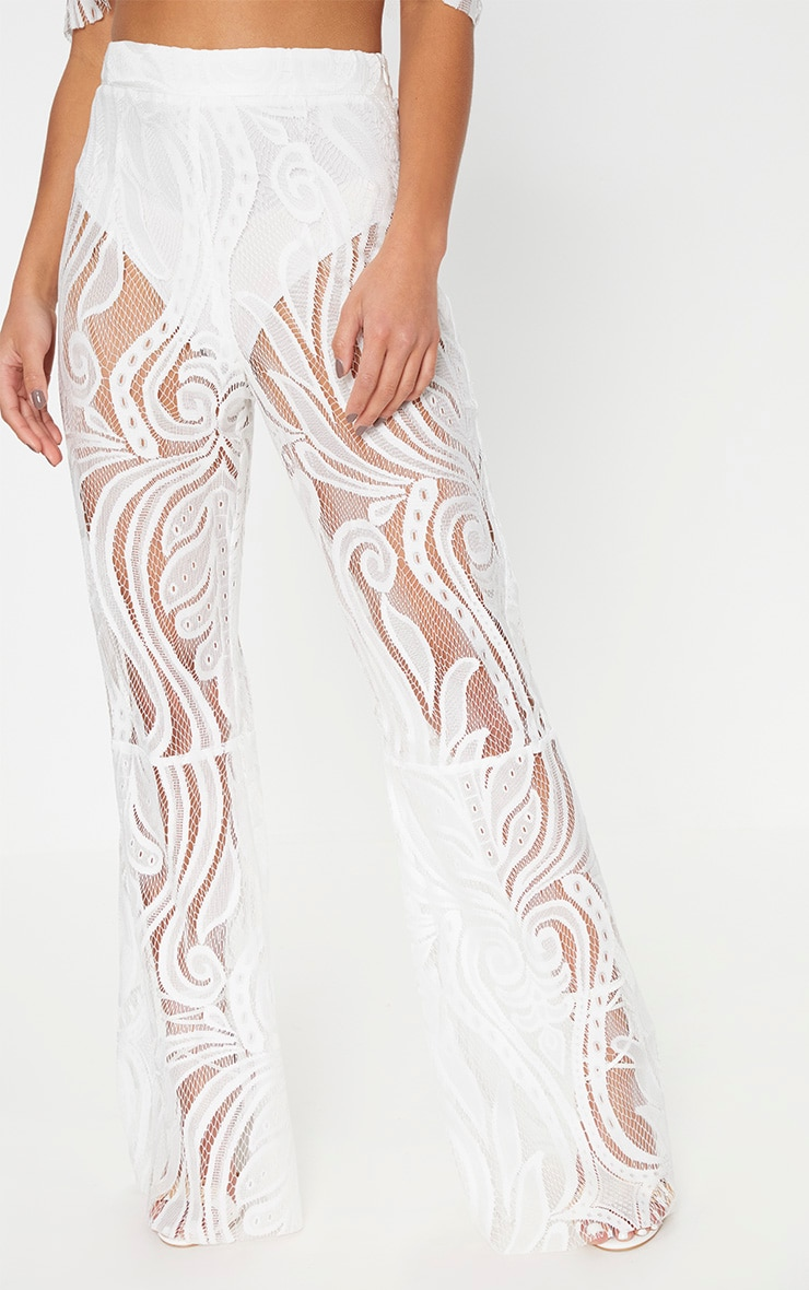 Petite White Lace Flared Pants 2