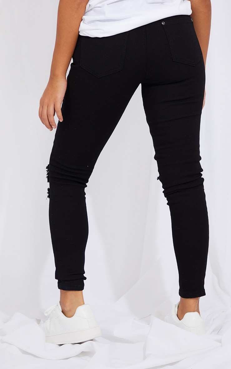 Petite Black Knee Rip Slim Jean 3